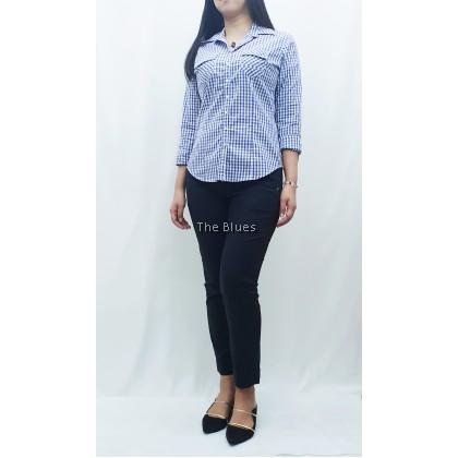 Miss Blue Checker Long Sleeve Shirt
