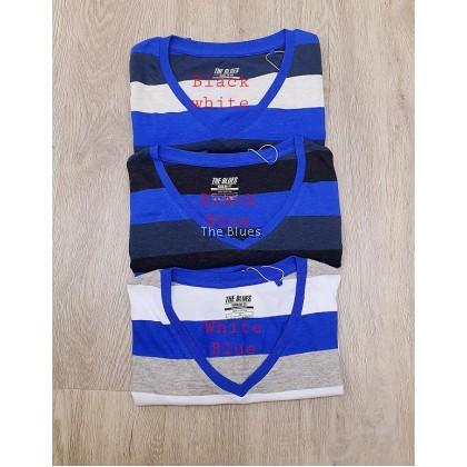 Blue Man V-Neck Stripe T-Shirt