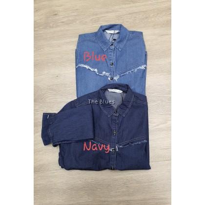 Miss Blue Ladies Demin Shirt