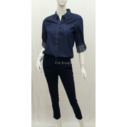 Miss Blue Ladies Demin Long Sleeve Shirt