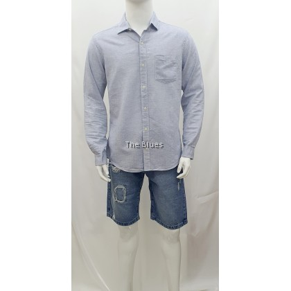 Blue Man Long Sleeve Plain Shirt