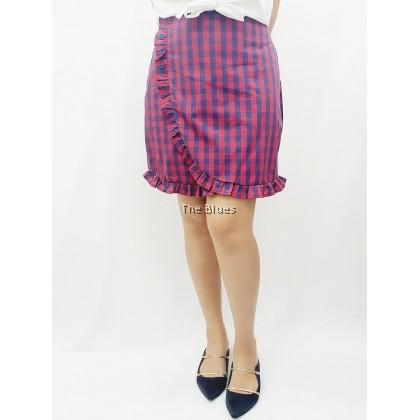Miss Blue ladies checker skirt